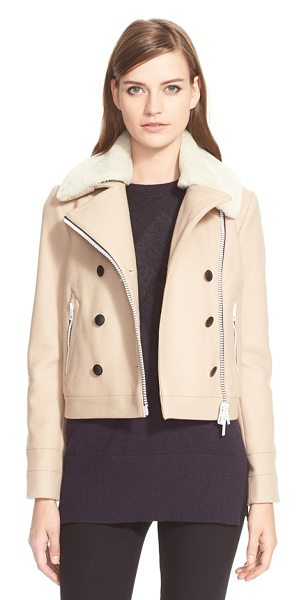Rag & Bone francis genuine shearling collar peacoat in taupe - Smart black buttons and a snowy shearling collar lend a...