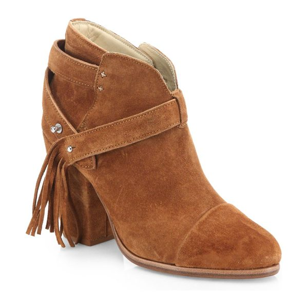 Rag & Bone harrow fringe suede booties in tan - EXCLUSIVELY AT SAKS IN BLACK. Ankle strap with fringed...