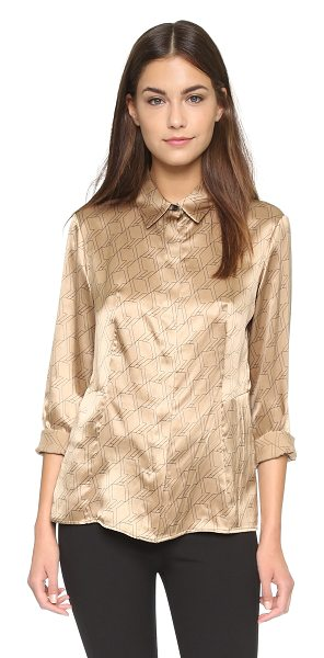 Rag & Bone Karla silk shirt in camel/black - An eye catching geometric print adds a vintage inspired...
