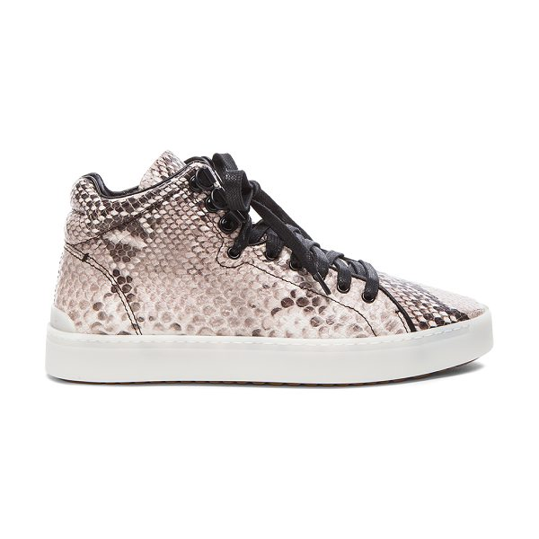 Rag & Bone Kent high top leather sneakers in neutrals,animal print - Snakeskin embossed leather upper with rubber sole.  Made...