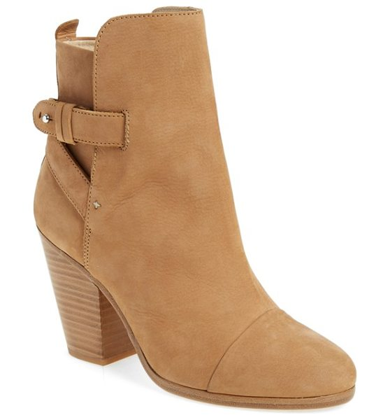 Rag & Bone kinsey bootie in camel nubuck - Crossed leather straps intensify the effortless glamour...