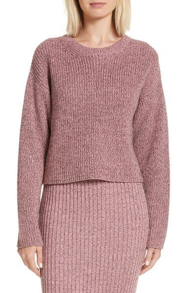 Rag & Bone leyton metallic knit merino wool blend sweater in dusty rose - Glittering metallic threads highlight the chunky ribbed...