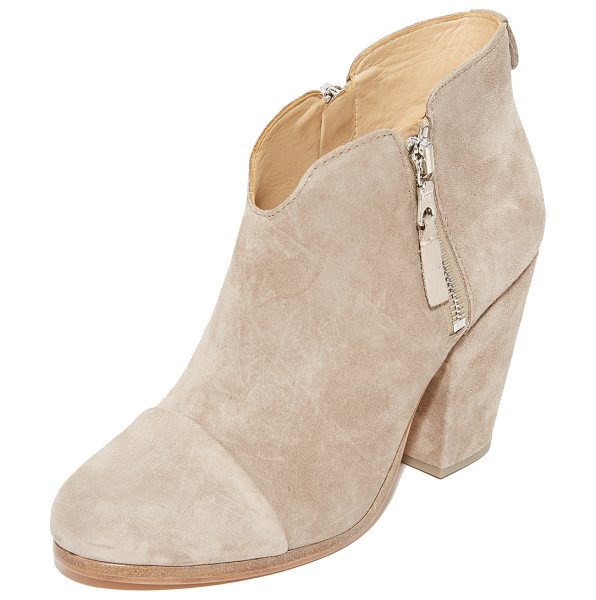 Rag & Bone margot booties in stone - Exposed side zips add an edgy element to suede Rag &...