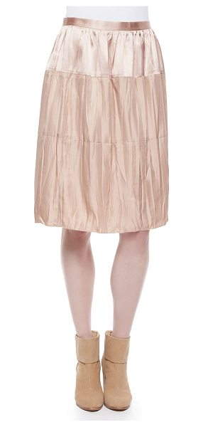 Rag & Bone Maria crinkled tiered satin skirt in rugby tan - Rag & Bone Maria skirt in crinkled, tiered satin....