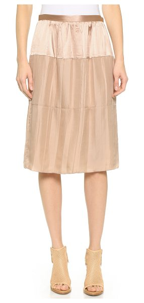 Rag & Bone Maria skirt in rugby tan - This silk Rag & Bone skirt has a satin panel for a hint...