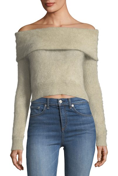 "RAG & BONE Mimi Off-the-Shoulder Cropped Mohair Sweater - Rag & Bone ""Mimi"" sweater in mohair-blend...."