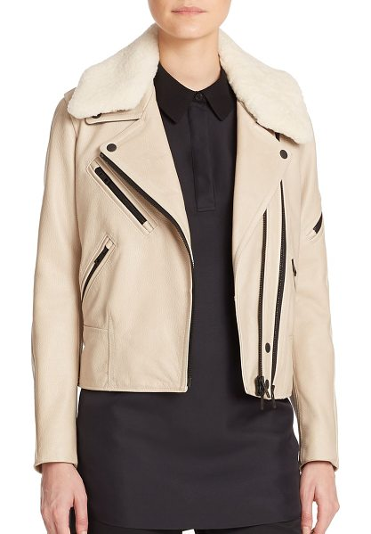 Rag & Bone Minerva leather & shearling moto jacket in abbeystone - A removable shearling collar offers soft textural...