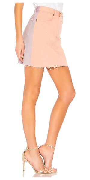 "Rag & Bone Moss Skirt in peach & lilac - ""Colorblock denim becomes the season's """"new blues""""..."