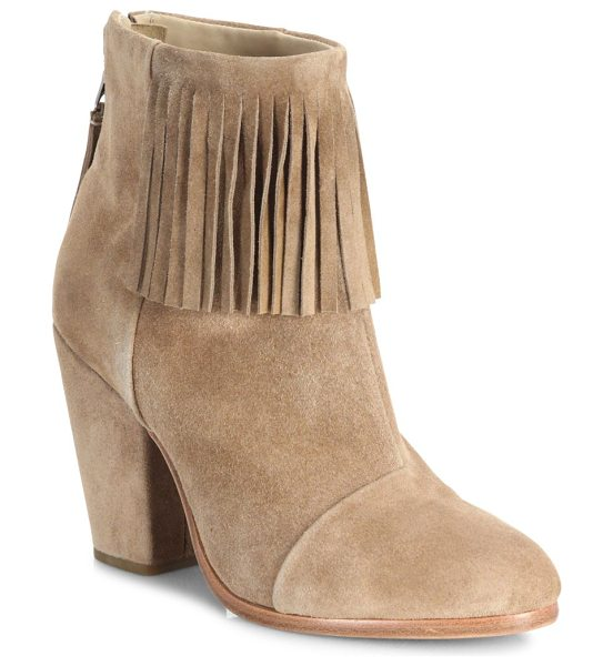 Rag & Bone newbury fringe suede booties in camel - EXCLUSIVELY AT SAKS IN CAMEL. Fringed ankle trim adds...