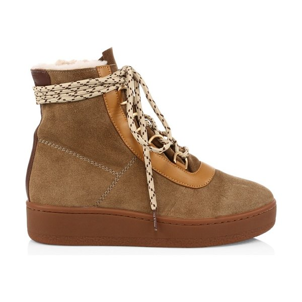 Rag & Bone oslo lace-up shearling-lined suede boots in stone beige