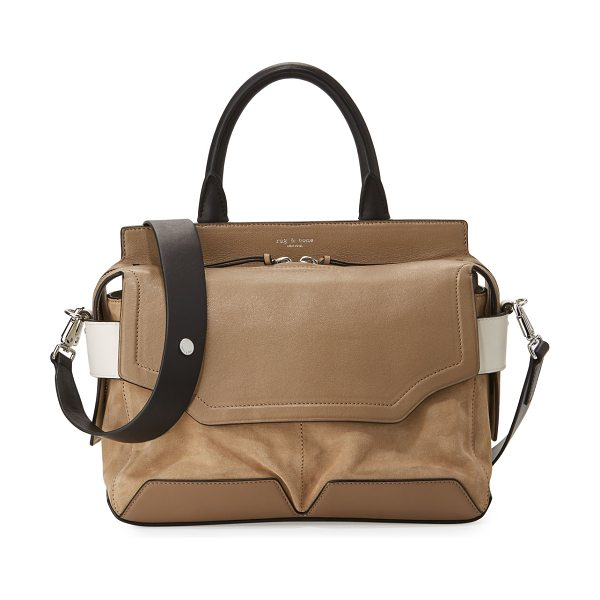 RAG & BONE Pilot Suede & Leather Satchel Bag - Rag & Bone suede and leather satchel bag. Shiny nickel...