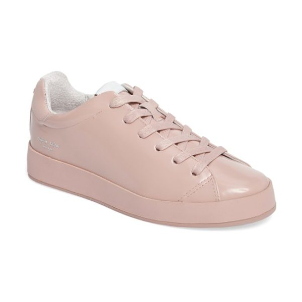 Rag & Bone rb1 low-top sneaker in pink - Liquid-shine leather brightens an essential sneaker...