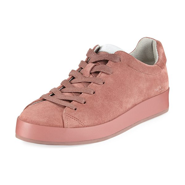 "Rag & Bone RB1 Low-Top Suede Platform Sneaker in mauve - Rag & Bone suede sneaker. 1"" leather-wrapped wedge with..."