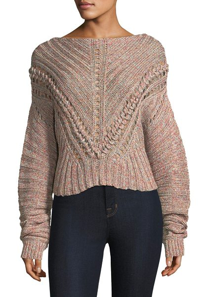 RAG & BONE roman textured pullover sweater in pink - Chunky marled sweater with lacing detail. Boat neck....