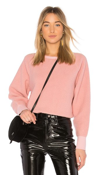 Rag & Bone Sherpa Pullover in pink - Self: 100% polyContrast: 95% cotton 5% spandex. Banded...