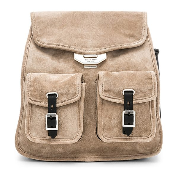 "Rag & Bone Small Field Backpack in taupe - ""Suede exterior with canvas fabric lining. Adjustable..."
