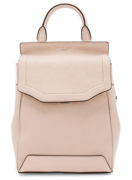 "Rag & Bone Small Pilot Backpack II in blush - ""Leather exterior with nylon lining. Flap top with push..."