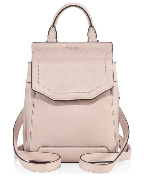 RAG & BONE small pilot ii leather mini backpack in dusty rose - Mini backpack with expandable side snap accents. Top...