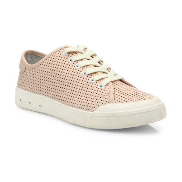 Rag & Bone standard issue perforated leather sneakers in pink - Perforated leather updates classic low-top sneaker....