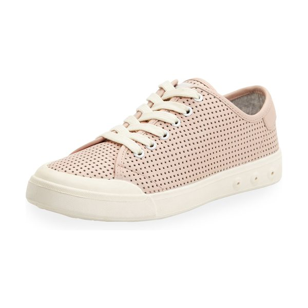 "Rag & Bone Standard Issue Perforated Low-Top Sneaker in pink - Rag & Bone perforated leather sneaker. 1"" flat heel...."