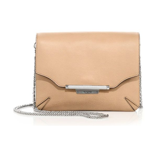 Rag & Bone leather moto clutch in nude