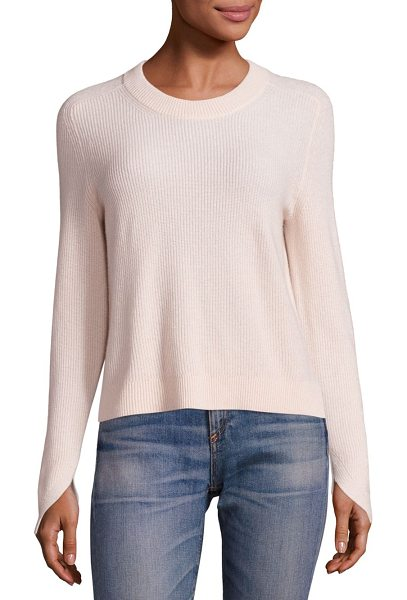 Rag & Bone valentina cashmere cropped top in shell - EXCLUSIVELY AT SAKS FIFTH AVENUE. Rib-knit sweater in...
