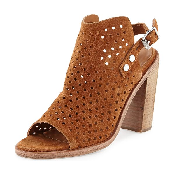 Rag & Bone Wyatt perforated high-heel city sandal in tan suede
