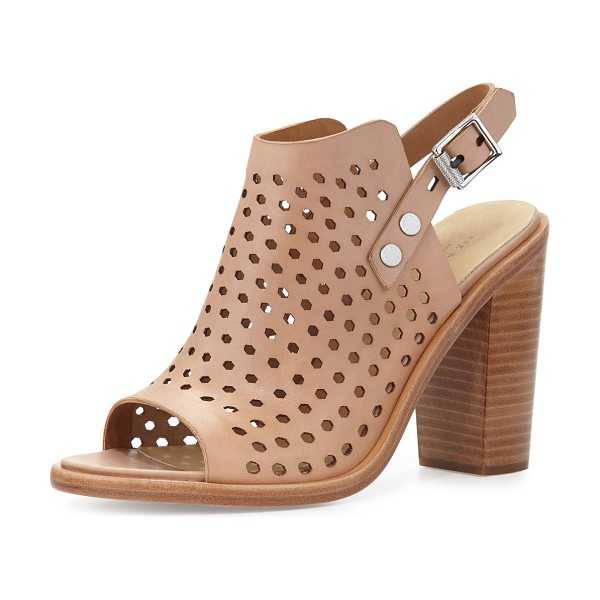 "Rag & Bone Wyatt perforated leather city sandal in nude perf - Rag & Bone perforated leather city sandal. 3. 5"" stacked..."