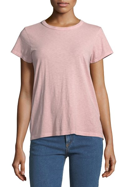 Rag & Bone Crewneck Short-Sleeve Cotton Tee in pink - rag & bone/JEAN classic tee. Crew neckline. Short...