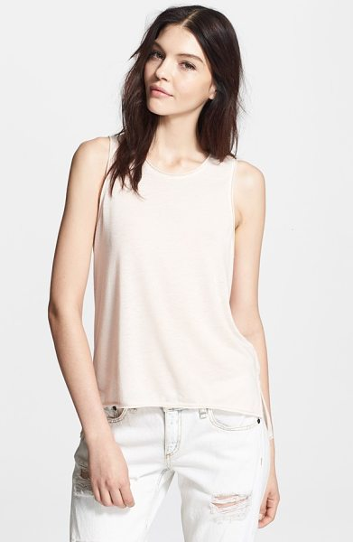 Rag & Bone hollins tank in crystal rose - A tank with cutaway shoulders, distressed edges and a...