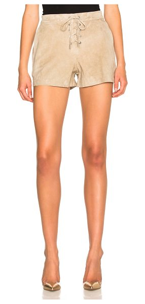 Rag & Bone Lace Up Shorts in neutrals - Self: 100% goat suede - Lining: 100% cotton.  Made in...