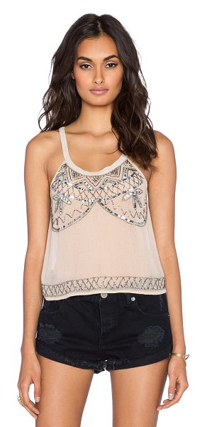 Raga After hours tank in beige - Silk blend. Hand wash cold. Bead and sequin detail. Semi...