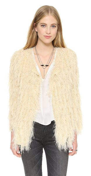 Raga Almost famous cardigan in eggshell - Shaggy fringe covers this slouchy Raga cardigan, lending...