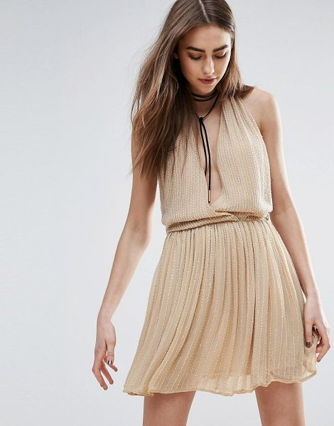 Raga Be Mine Embellished Mini Dress in Nude in beige