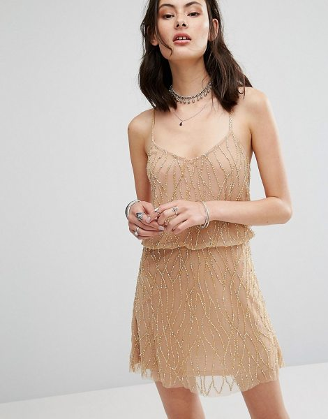 "Raga Dust In The Wind Beaded Dress in cream - """"Party dress by Raga, Heavyweight lined mesh, Beaded..."