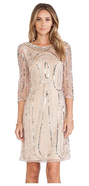 Raga Long sleeve sequin dress in beige - Nylon blend. Fully lined. Sequined throughout. Hidden...