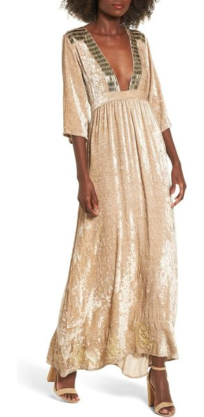 Raga romantic visions velvet maxi dress in beige - The plunging neckline on this velvet maxi accompanies...