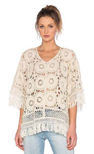 Raga The Betsy Top in beige - 100% cotton. Hand wash cold. Fringe trim. RAGX-WS59....