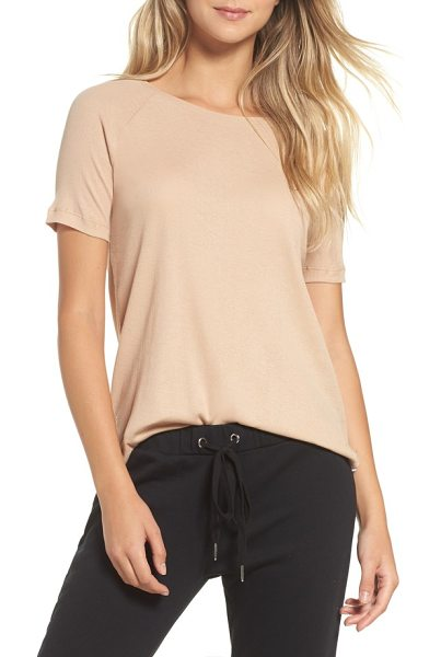 Ragdoll ribbed tee in rose - Airy ribbing intensifies the easy-fitting stretch and...