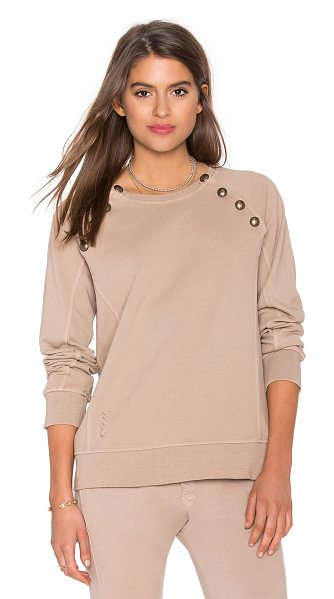 Ragdoll Sweatshirt with brass buttons in beige - 100% cotton. Raglan sleeves with button closures. Ribbed...
