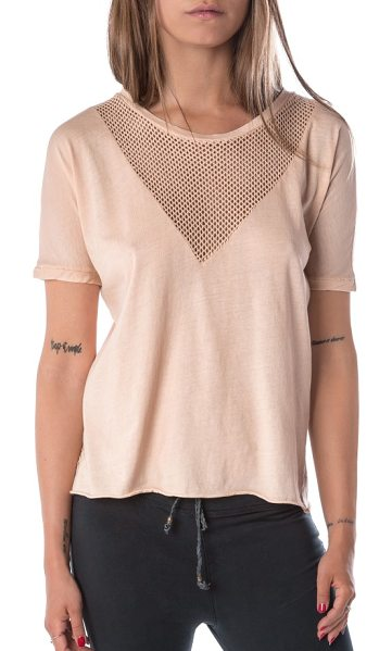 Ragdoll vintage mesh tee in nude - Night or day, look incredibly chic in this mesh-detailed...