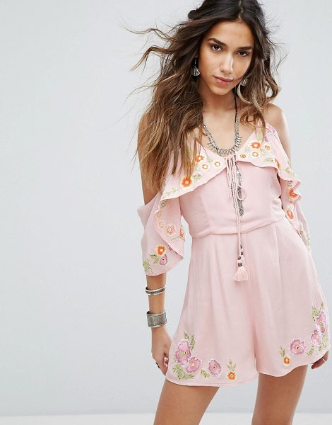 "RahiCali Cupid Dreamer Romper in pink - """"Romper by RahiCali, Smooth woven fabric, Embroidered..."