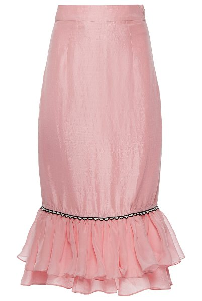 Rahul Mishra Silk Habotai Ruffled Skirt in pink - This *Rahul Mishra* skirt features a high waist a fitted...