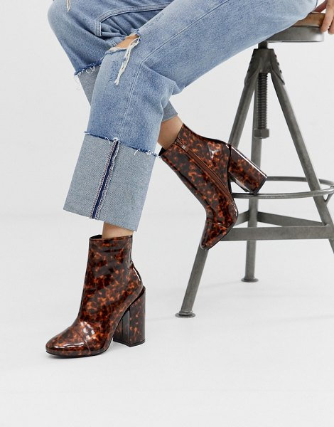 Raid dolley tortoishell heeled boots in tortorishellpu