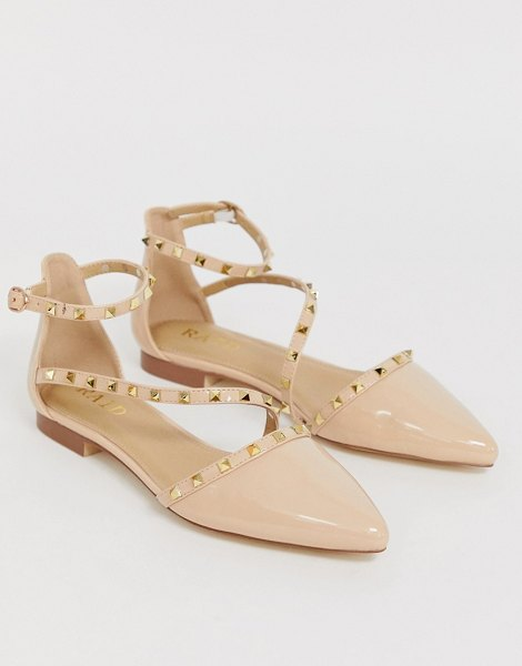 Raid eden nude patent studded flat shoes in beigepatent