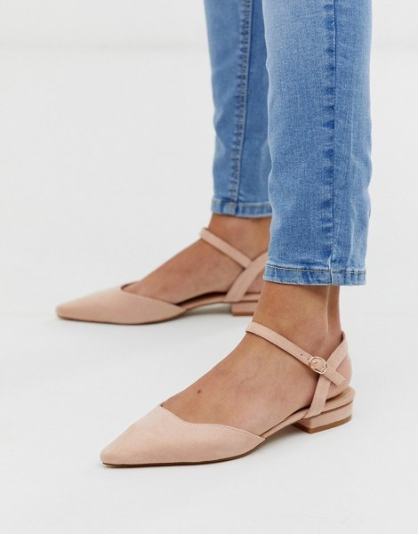Raid myla blush ankle strap suede flat shoes in be1beige1