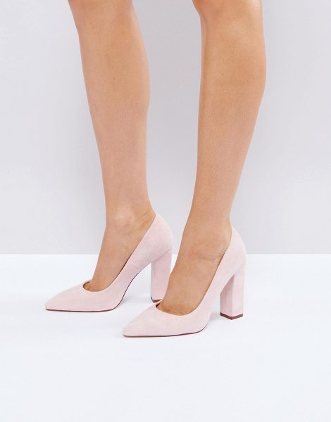 """Raid RAID Delora Blush Pointed Block Heeled Shoes in pink - """"""""Heels by Raid, Faux-suede upper, Slip-on style, Point..."""