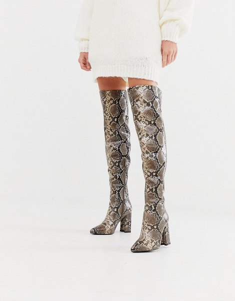 Raid sloan over the knee snake print boots-beige in beige