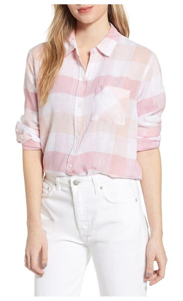 Rails charli shirt in coral - Cut from a breathable, semi-sheer blend, this drapey...