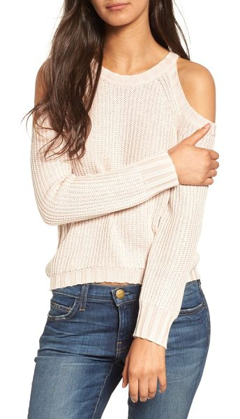 Rails mika cold shoulder sweater in blush - Slouchy and shoulder-flaunting in a chunky-knit cotton...